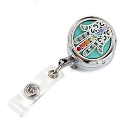 $enCountryForm.capitalKeyWord Australia - New 7 Chakras Lucky Hand Perfume Essential Oil Locket Metal Retractable Badge Reel Key 30MM ID Card Clip Ring Lanyard Name Tag Card Holder