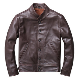 $enCountryForm.capitalKeyWord Australia - Mens Genuine Leather Jackets and Coats 100% Real Cow Cowhide Motorcycle Brown Black Yellow Male Brand Clothing jaqueta de couro