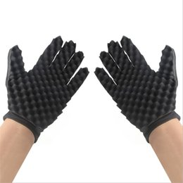 Natural cleaNiNg spoNges online shopping - Resistance To Dirt Sell Well Sponge Gloves Natural Curls Hairdressing Tool Black Cleaning Gloves Double Layers Bardian dyC1
