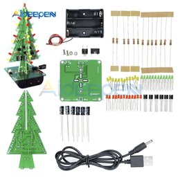 Christmas Ornament Flashing Australia - Three-Dimensional 3D Christmas Tree LED DIY Kit LED Flash Circuit Kit Electronic Fun Suite Red Green Yellow Holiday Decoration