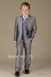 Formal Ties NZ - High Quality Two Buttons Gray Notch Lapel Boy's Formal Wear Occasion Kids Tuxedos Wedding Party Suits (Jacket+Pants+Vest+Tie) K51