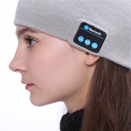 Beanie Headphones Wireless Australia - New Fashion Beanie Hat Cap Wireless Bluetooth Earphone for Cellphone Smart Headset headphone Speaker Mic Winter Outdoor Sport Stereo Music H
