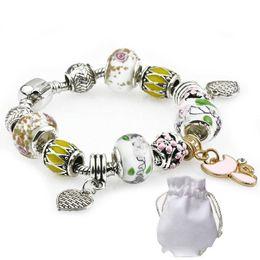 $enCountryForm.capitalKeyWord Australia - Women Silver Plated Bracelets Fit Pandora Brand Logo White Murano Glass Crystal Beads Bangles Heart Cat Shaped Pendant Jewelry Gift