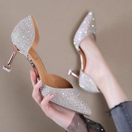 $enCountryForm.capitalKeyWord Australia - Sexy2019 High-heeled Paillette Rhinestone Woman 2019 Autumn Waters Crystal Shoes Cavity Sandals Summer. Fine With Shallow Mouth Single Shoe
