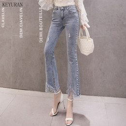 Wholesale beading jeans for sale - Group buy Pearl Beading Flare Jeans Woman Fashion Tassel Pocket Elastic Slim Denim Pants New Women Female Casual Plus Size Trousers