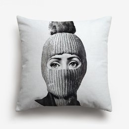 Painting Faces UK - Fornasetti Face Painting Cushion Covers European Retro Vintage Beauty Girl Faces Lips Eye Hand Cushion Cover Sofa Linen Cotton Pillow Case