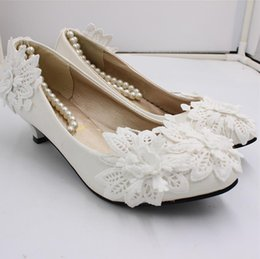 $enCountryForm.capitalKeyWord Australia - Handmade Lace Flowers White Bridal Heel Shoes With Pearls Strappy Flats 3cm 5cm 8cm Heel Women Flats Pumps For Ceremoney Prom AL2499