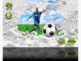 $enCountryForm.capitalKeyWord Australia - Customized 3D photo wallpaper silk material mural Football Beckham kicks broken white brick wall 3D living room TV background wall