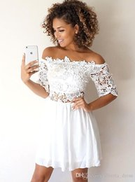 White Sweetheart Chiffon Homecoming Dress NZ - Little white Dresses With Lace Chiffon short Sleeves Sexy A Line short Homecoming Dresses Cheap simple Cocktail Party WEars