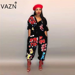 $enCountryForm.capitalKeyWord Australia - Vazn 2108 Special Style Brand Casual Fashion Women Long Jumpsuits Letter Half Sleeve Autumn Loose High Street Romper Ld8103 J190626