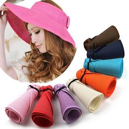 Summer Spring rollS online shopping - Women Large Floppy Visor Hat Foldable Straw Boho Wide Brim Hat Summer Beach bowknot Lady Sunscreen Caps Roll Up AAA2005