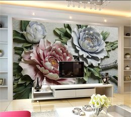 Decorative Bedroom Paintings Australia - Custom Any Size 3D Wallpaper 3D Floral Embossed Background Wall Nordic Decorative Painting Living Room Bedroom Background Wall Decoration Wa