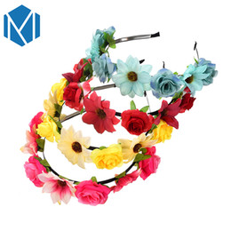 China Q MISM Sweet Boho Fabric Flower Crown Rose Hairband Women Floral Wedding Wreath Bridesmaid Garland Bohemian Festival Hair Hoop cheap wedding fabric garland suppliers