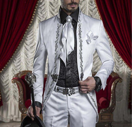 Discount dark blue gentlemen suits - High Tailored Embroidery White Men Suits Slim Fit Gentlemen Style Men's Wedding Suits Bridegroom Tuxedos (Jacket+Pa