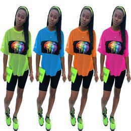 Orange lip online shopping - Rainbow Lips Women SummerTracksuit Quick Dry Mesh Short Sleeve T shirt Shorts Piece Sportswear Jogging Suit Outfits Sportswear C41603