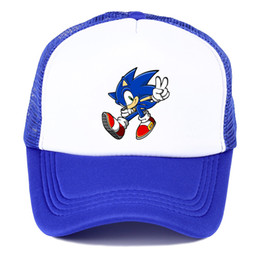 $enCountryForm.capitalKeyWord Australia - Popular game animation Sonic The Hedgehog summer nets nets hat youth fashion baseball hat spring breathable Trucker's hat