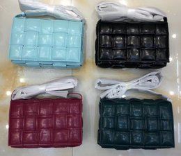 cell phone faces Australia - 4 colors top quality big crochet Sheepskin genuine leather fashion designer Lady shoulder bag crossbody bag double face woven bag wholesale