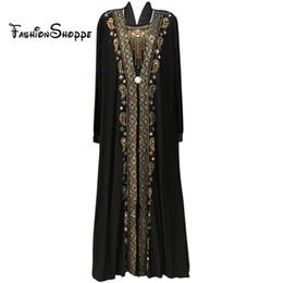 MusliM woMen clothing dubai online shopping - Muslim black abaya islamic clothing for women embroidery rhinestone dubai kaftan robe dress turkish abaya D253