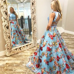 blue floral print evening gown Australia - Berylove 2019 Long Blue Floral Print Two Pieces Evening Gown Formal Halter Strap Evening Dress Robe De Soiree 2 Piece Prom Gown