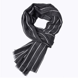 wholesale designer cotton scarves UK - Winter Designer Scarf Men Striped Cotton Scarf Male Business Shawl Wrap Bufandas Striped With Tassels