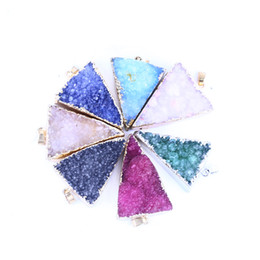 $enCountryForm.capitalKeyWord Australia - Natural Stone Druzy gold pendant and Triangle Pendant LGMJY-017