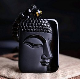 Carved Jade Red Pendants Australia - Natural Black Obsidian Carved Buddha Lucky Amulet Pendant Necklace For Women Men pendant Fine Jewelry Healing Gift