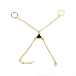 Chain Finger Rings Australia - Punk Gold Triangle Chain Bracelet Bangle Jewelry For Women Girl Bohemian Beads Slave Finger Ring Bracelet Pulseiras Shellhard