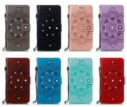 Diamond Id Wallet Australia - Case For Iphone XR XS MAX 8 7 6 Samsung S10 5G S10e Bling Diamond Datura Imprint Wallet Leather Flower Mandala Card ID Slot Lace Flip Cover