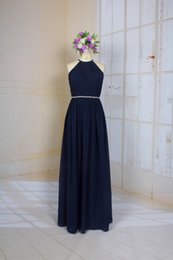 simple bead designs NZ - A Line Navy Blue Simple Halter Bridesmaid Dress with Special Hollow Back Design Pleats Chiffon Long Prom dress with Belt
