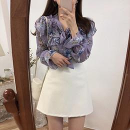 $enCountryForm.capitalKeyWord Australia - 2019 Cute Sweet Bow Tie Tops Women Korean Style Bow Blouses Female Girls Purple Floral Vintage Top