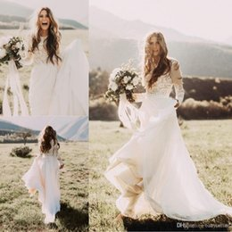 Discount white long sexy summer wedding dresses - Cheap Bohemian Beach Lace Wedding Dresses With Sheer Long Sleeves Bateau Neck A Line Appliqued Chiffon Boho Bridal Gowns