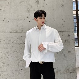 7aae43427379 2019 Spring Men Ruffle Long Sleeve Casual Shirt Streetwear HipHop Male  Camisa Masculina Fashion Dress Shirts Stage Show Clothing