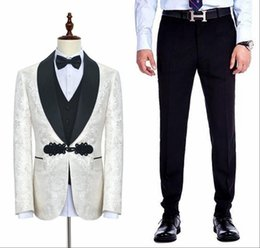 Discount mens button business suit - High Quality Custom Made Mens Formal Tuxedos Flora Printed Groomsmen Bestman Business Man Formal Suits (Blazers+Pants) S