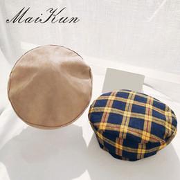 3d6c27f9dd29c Maikun Fashion Berets for Women Lady Wool Beanie Hats Vintage Female  Lattice Cap Grid Bonnet