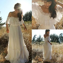 Line bateau chiffon Lace online shopping - Stunning Country Lace Boho Wedding Dresses Spring Summer Arabic Plus Size Bohemian Ball Bride Marriage robe de mariée A line Bridal Gown