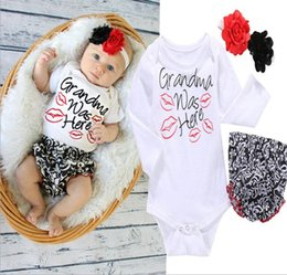 spring hairs Canada - Baby Jumpsuits Baby Girls Clothes Spring   Autumn Baby Lip Print PP Pants With Three Pieces of Hair Hand Cotton Without Caps