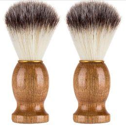 $enCountryForm.capitalKeyWord Australia - Barber Hair Shaving Razor Brushes Natural Wood Handle Nylon Bristle Beard Brush For Men Best Gift Barber Tool