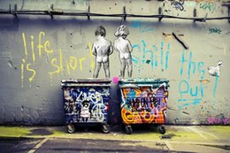 Life Size Figures Australia - A.5HD120 Handpainted rioil painting Banksy Graffiti Posters Life Is Short Chill Cuadros Painting HD Prints,Home Decor Mulit sizes