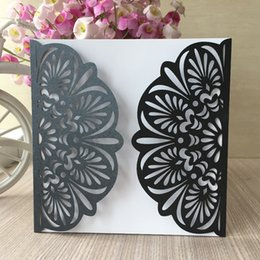 $enCountryForm.capitalKeyWord Australia - 25PCS  lot Hollow Big Flower Lace Wedding Invitation Cards Decoration With Birthday Party Ceremony Greeting Gift Cards Grand Events Supplies