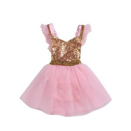 Glitter pieces online shopping - Kids sequins Dress Golden Baby glitter Short Sleeve Tulle Party Dresses Floral Print Princess skirt Clothes sets GGA1586