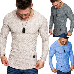 Wholesale t shirts blanks online – design Men Crew Neck Jumper Twist Kint Long Sleeve Irregular T shirt Pullover Basic Blank Plain Slim Bottoming Tops M XXXL