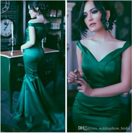 $enCountryForm.capitalKeyWord Australia - Vintage Emerald Green Formal Evening Dresses 2019 Elegant Off the Shoulder Mermaid Prom Gowns Sexy Backless Vestidos De Fiesta Cheap Dresses