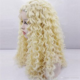 Discount synthetic 613 curly hair - Blonde 613# Color Kinky Curly Synthetic Lace Front Wigs for African American Women Long Blonde Afro Curly Hair Heat Resi