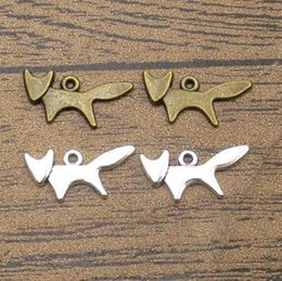 wholesale fox jewelry NZ - Wholesale Alloy Metal Fox Charms 60PCS Lot 20*10mm Fox Pendants Jewelry DIY Supplies Charm Bracelet 2 Colors Available-WY1219