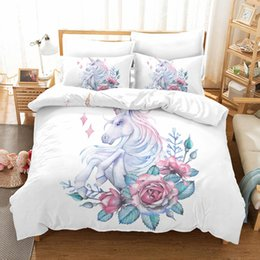 print microfiber duvet cover Australia - Rose Unicorn Home 3 Piece Duvet Cover Set Printed Stripe Twin Queen King Bedding Set Microfiber Fabric Simple Style Duvet Covers