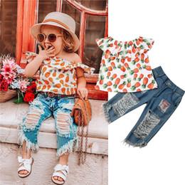 $enCountryForm.capitalKeyWord Australia - 2PCS Toddler Kids Girls Clothes Off Shoulder Pineapple T-shirt Tops+Denim Holes Jeans Pants Children Summer Clothes Outfits Set