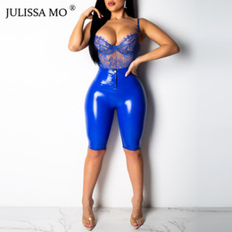 Wholesale candy short sexy resale online - JULISSA MO Pink High Waist PU Leather Shorts Women Sexy Skinny Bodycon Short Pants Candy Colors Faux Zipper Shorts Plus Size XXL