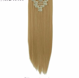 """99j Hair Extensions 24 Australia - 24"""" 8 Pieces  set Long Striaght Double Thick 180g Clip In Full Head Weft Hair Extensions Real Synthetic 18 Clips"""