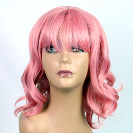 Discount light brown blonde highlights - Wavy wigs Beautiful Ladies' Long wigs Neat bang Highlights Synthetic Hair Pink Black Brown 12-20inch Hot Style Wigs