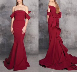 bateau satin evening dress NZ - Elegant Dark Red Long Sexy Mermaid Prom Dress With Off the Shoulder Straight Bateau Ruffles Satin Evening Formal Dresses Celebrity Custom